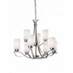 Nine Light Polished Nickel Clean Opal White Glass Up Chandelier