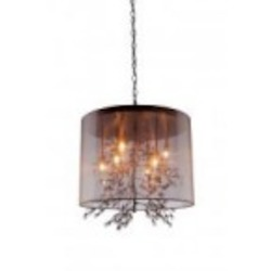 Artcraft Eight Light Bronze Organza Shade Drum Shade Pendant - AC1928BZ