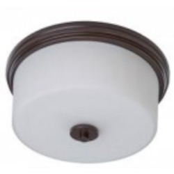 Artcraft Two Light Polished Nickel Clean Opal White Glass Drum Shade Flush Mount - AC2193PN
