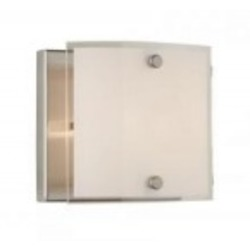 One Light Brushed Nickel Frosted Glass Bathroom Sconce