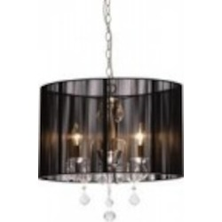 Artcraft Four Light Polished Nickel Silk String Shade Drum Shade Chandelier - AC380BK