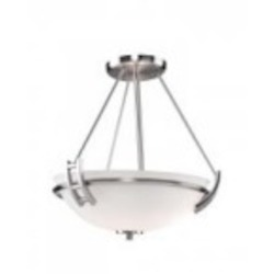 Artcraft Two Light Polished Nickel Opal Glass Bowl Semi-Flush Mount - AC4333PN