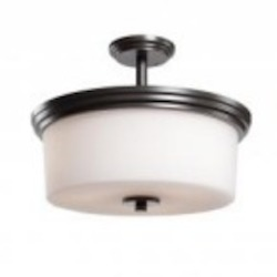 Three Light Oil Rubbed Bronze Clean Opal White Glass Drum Shade Semi-F