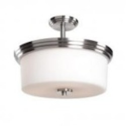 Artcraft Three Light Polished Nickel Clean Opal White Glass Drum Shade Semi-Flush Mount - AC4393PN