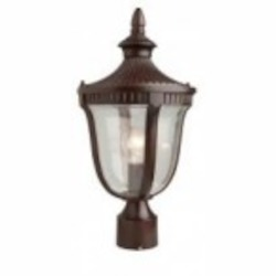 Artcraft One Light Mahogany Seeded Glass Post Light - AC8023MA