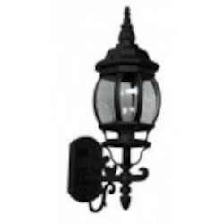 Artcraft One Light Black Clear Glass Wall Lantern - AC8090BK