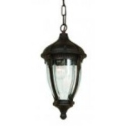 Four Light Optic Clear Glass Oil Bronze Hanging Lantern