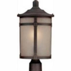 Artcraft One Light Dark Bronze Soft Linen Glass Post Light - AC8643BZ