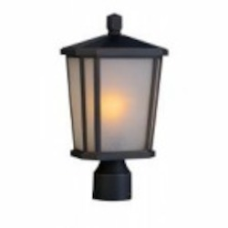 Artcraft One Light Oil Rubbed Bronze Interior-white, Outer-etched Glass Post Light - AC8773OB