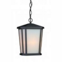 Artcraft One Light Black Interior-white, Outer-etched Glass Hanging Lantern - AC8775BK