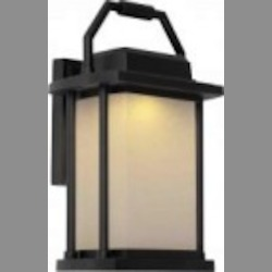 Artcraft One Light Black White Linen Glass Wall Lantern - AC9022BK