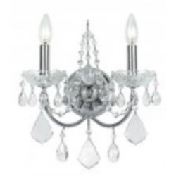 Crystorama Two Light Polished Chrome Swarovski Elements Glass Wall Light - 3222-CH-CL-S
