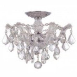 Crystorama Three Light Polished Chrome Swarovski Spectra Glass Bowl Semi-Flush Mount - 4430-CH-CL-SAQ