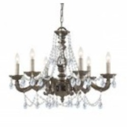 Crystorama Six Light Venetian Bronze Swarovski Spectra Glass Up Chandelier - 5026-VB-CL-SAQ