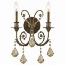 Crystorama Two Light English Bronze Golden Teak Hand Polished Glass Wall Light - 5112-EB-GT-MWP