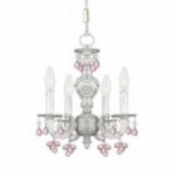 Crystorama Four Light Antique White Murano Crystal Glass Up Chandelier - 5224-AW-ROSA