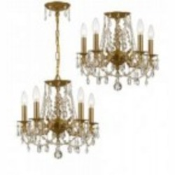 Crystorama Five Light Aged Brass Swaroski Spectra Glass Up Chandelier - 5545-AG-CL-SAQ