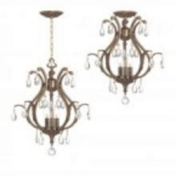 Crystorama Three Light Antique Brass Swarovski Elements Glass Open Frame Foyer Hall Fixture - 5560-AB-CL-S