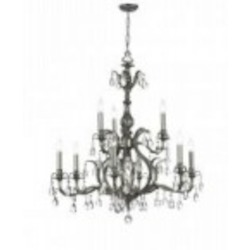 Crystorama Nine Light Antique Brass Golden Teak Hand Cut Glass Up Chandelier - 5569-AB-GT-MWP