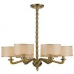 Crystorama Six Light Antique Brass Silk Shade Drum Shade Chandelier - 9506-AB