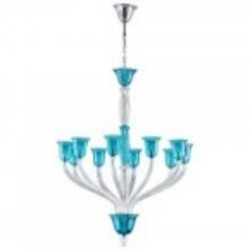 Cyan Designs Ten Light Teal And Clear Glass Up Chandelier - 05391