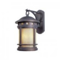 Designers Fountain Three Light Mediterranean Patina Amber Glass Wall Lantern - 2381-AM-MP