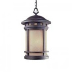 Designers Fountain Three Light Oil Rubbed Bronze Amber Glass Hanging Lantern - 2394-AM-ORB