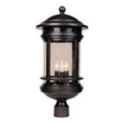 Designers Fountain Three Light Oil Rubbed Bronze Seedy Glass Post Light - 2396-ORB