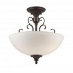 Designers Fountain Three Light Burnt Umber White Opal Glass Bowl Semi-Flush Mount - 84811-BU