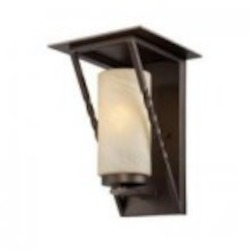 Designers Fountain One Light Flemish Bronze Tea Stained French Swirl Glass Wall Lantern - ES31931-FBZ