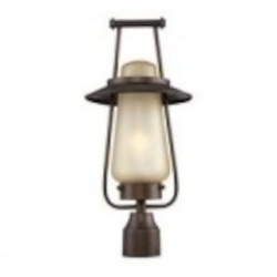 Designers Fountain One Light Tea Stained Glass Flemish Bronze Post Light - FL32036-FBZ