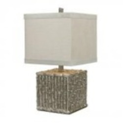 Dimond One Light Silver Leaf Beige Cream Linen Shade Table Lamp - 112-1119
