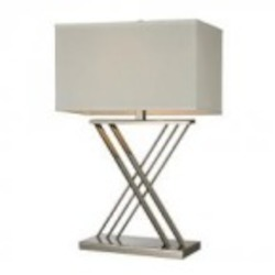 Dimond One Light Polished Nickel White Faux Silk, Hard Back, White Liner Fabric Shade Table Lamp - D2419