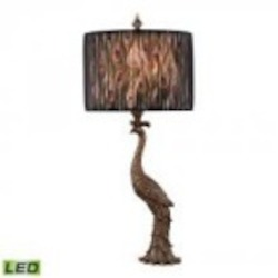 Dimond One Light Gatton Gold Peacock With Transparent Black Organza Shade Table Lamp - D2480-LED