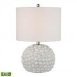 Dimond One Light White Shell White Linen Shade Table Lamp - D2497-LED