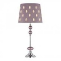 Dimond One Light Lilac Luster With Chrome Lilac With Clear Crystal, Silken Fabric Shade Table Lamp - D2526