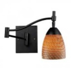 ELK Lighting One Light Dark Rust Coco Glass Wall Light - 10151/1DR-C