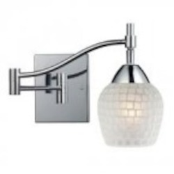 ELK Lighting One Light Polished Chrome White Glass Wall Light - 10151/1PC-WHT