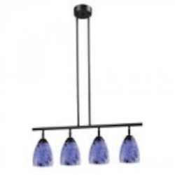 ELK Lighting Four Light Dark Rust Starburst Blue Glass Island Light - 10153/4DR-BL