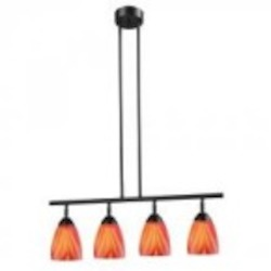 ELK Lighting Four Light Dark Rust Multi Glass Island Light - 10153/4DR-M