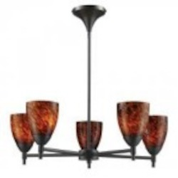 ELK Lighting Five Light Dark Rust Espresso Glass Up Chandelier - 10155/5DR-ES