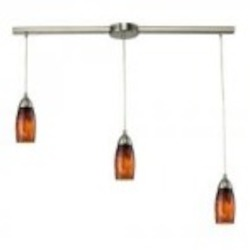 ELK Lighting Three Light Satin Nickel Espresso Glass Multi Light Pendant - 110-3L-ES