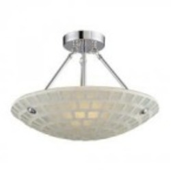 ELK Lighting Three Light White Mosaic Glass Bowl Semi-Flush Mount - 1322/3WHM