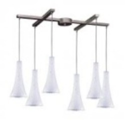 ELK Lighting Six Light Satin Nickel Show White Glass Multi Light Pendant - 140-6SW