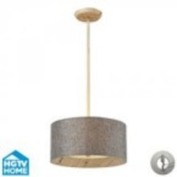 ELK Lighting Three Light Washed Pine Drum Shade Pendant - 14170/3-LA