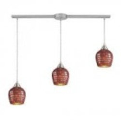 ELK Lighting Three Light Satin Nickel Copper Mosaic Glass Multi Light Pendant - 528-3L-CPR