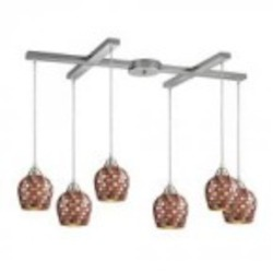 ELK Lighting Six Light Satin Nickel Multi Mosaic Glass Multi Light Pendant - 528-6MLT