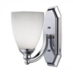 ELK Lighting One Light Polished Chrome Simply White Glass Bathroom Sconce - 570-1C-WH