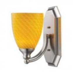 ELK Lighting One Light Satin Nickel Canary Glass Bathroom Sconce - 570-1N-CN