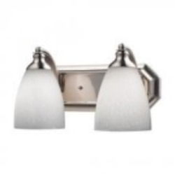 ELK Lighting Two Light Satin Nickel Simply White Glass Vanity - 570-2N-WH